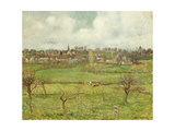 View of Bazincourt Print by Camille Pissarro