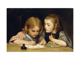 The Lesson Giclee Print by Albert		 Anker