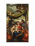 The Madonna and Child with Saints Mary Magdelen, Peter, Clare and Francis Poster by Ippolito Scarsella Scarsellino