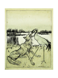 The Wolf and the Crane - Aesops Fables Giclee Print by Arthur		 Rackham