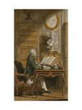 Monsieur de Cormainville in His Library, Writing at His Desk Giclee Print by Louis Carmontelle