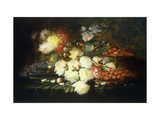 Still Life with Roses, Chrysanthemums, Grapes and Strawberries Print by Carlier Modeste
