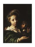 A Girl Holding a Pigeon and a Boy Gesturing Lámina giclée por Jan Bray
