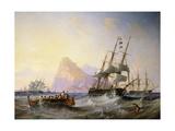 British Men O' War off Gibraltar Giclée-trykk av John Wilson Carmichael