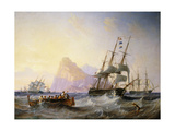 British Men O' War off Gibraltar Giclee Print by John Wilson		 Carmichael