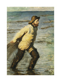 A Fisherman Hauling in his Nets Giclee Print by Peder Severin Kröyer