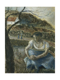 Seated Peasant Impression giclée par Camille Pissarro