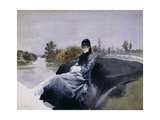 Lady in a Carriage Giclee Print by Giuseppe Nittis