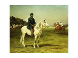 Captain J. O. Machell on a White Horse with Jockeys Poster by Edmund		 Havell I