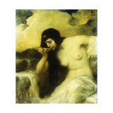 A Nymph Drinking at a Spring Giclee Print by Ferdinand		 Keller
