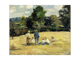 The Harvesters Rest, Montfoucault Posters by Camille Pissarro