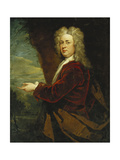 Portrait of a Gentleman, Standing half length, Wearing a Red Velvet Jacket and a Brown Cloak in a P Giclee Print by Sir Godfrey Kneller