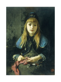 A Young Girl Knitting Giclee Print by Adolf		 Echtler