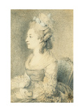 Portrait of the Artist's Wife (nee Louise Nicole Godeau), holding a Snuff-Box Giclee Print by Saint-Aubin Augustin
