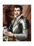 Portrait of a Knight of Malta, in armour, holding a helmet on a table Giclee Print by Giorgio		 Vasari