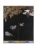 A Coquille d'Oeuf and lacquered two panel screen Print by Jean Dunand