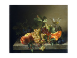 A Still Life with Grapes, Plums, Peaches, Berries, a Melon, and a Chalice, on a Stone Ledge Giclee Print by Bela		 Schaffer