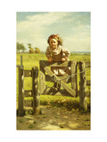 Young Girl Swinging on a Gate Prints by John George		 Brown