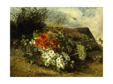 Wild Flowers on a Bank with a Cottage Beyond Giclee Print by Anna		 Peters