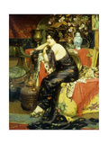 A Harem Beauty Seated on a Leopard Skin Giclee Print by Frederic Louis		 Leve