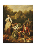 A Fishmonger displaying a Pike to a Maid Prints by Pieter		 Angillis