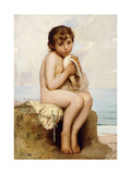 Nude Child with Dove Giclee Print by Leon Bazile		 Perrault