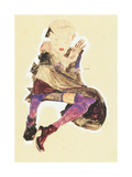 Seated Girl with Striped Stockings Giclee Print by Egon Schiele