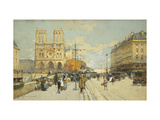 Figures on a Sunny Parisian Street, Notre Dame at left Art by Eugene		 Galien-Laloue