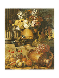 Flowers in Urns on Plinths with Fruit Giclee Print by Gaspar Peeter de		 Verbruggen