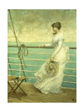 Lady on the Deck of a Ship Poster by  French School