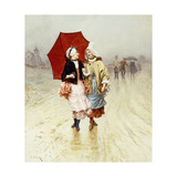 The Red Umbrella Giclee Print by Charles Edouard		 Delort