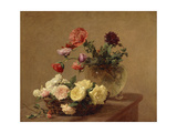 Poppies in a Crystal Vase and Roses in a Basket Giclee Print by Henri Fantin-Latour
