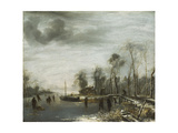 A Winter Landscape with Skaters and Colf Players on a frozen Waterway Giclee Print by Jan Capelle