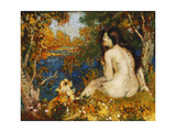 The Bather with her Dog Prints by Georges		 Lemmen