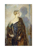 Portrait of Lady Abdy, wearing a Fur Wrap Giclee Print by Ambrose		 McEvoy