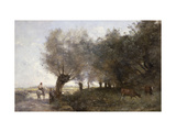 The Willows at la Pointe de l'Ile; Les Saules a la Pointe de l'Ile Prints by Jean-Baptiste-Camille Corot