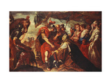 Coriolanus persuaded by his Family to raise the Seige of Rome Giclee Print by Filippo		 Abbiati