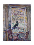 Black Cat on the Railing of a Window Giclee Print by Nicolas Alexandrovitch		 Tarkhoff