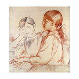 Julie Manet and Jeannie Gobillard at the Piano Giclee Print by Berthe		 Morisot