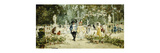 Elegant Couples Promenading in the Gardens of Versailles Premium Giclee Print by Lucas Villamil Eugenio