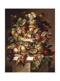 Still Life with Grapes and Peaches Print by Carl		 Baum