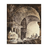 A Great Cross-Vaulted Building, with Women and Children and a Dog by Broken Columns Prints by Hubert		 Robert