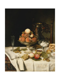 Peaches in a Dresden Tazza, Grapes, Apples, Hazelnuts and Biscuits on a Draped Table Prints by Jules		 Larcher