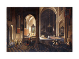 A Church at Night with a Priest celebrating Mass in a side Chapel Lámina giclée por Pieter		 Neeffs