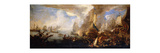 A Sea Battle with Sardinian and Venetian Warships and Sardinian and Egyptian() Galleys Premium Giclee Print by Carlevarijs Luca