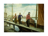 Fishermen on a Wharf Poster by Gustave		 Mattele