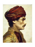 Profile Portrait of a Man in a Red Turban Giclee Print by Rudolphe		 Ernst