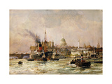 Shipping on the Thames Below St. Paul's Giclee Print by Charles Edward		 Dixon