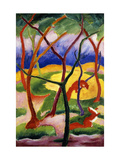 Playing Weasels Reproduction giclée Premium par Franz Marc
