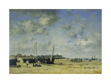 The Beach at Berck Premium Giclee Print by Eugène Boudin